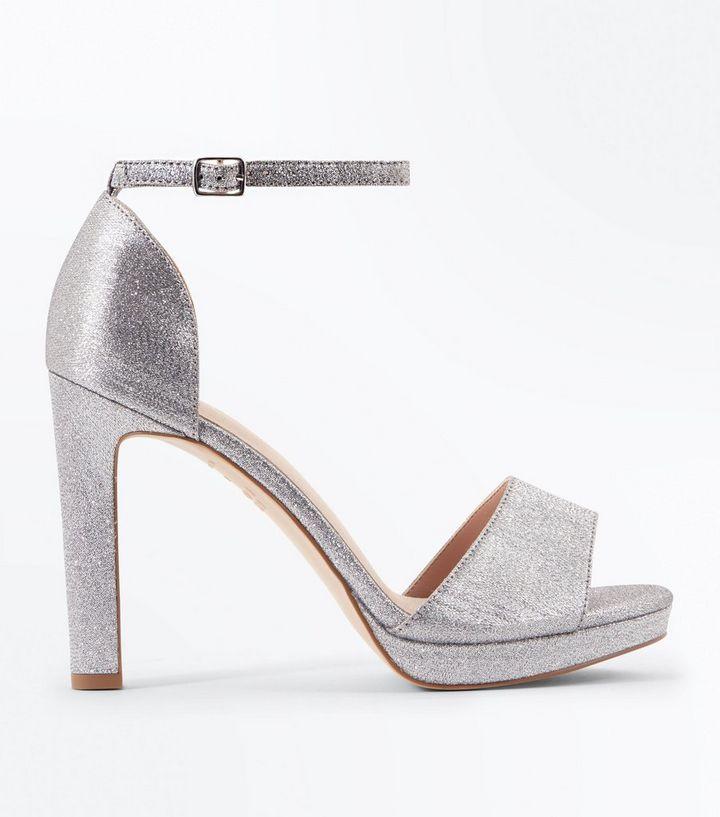 71b150079844 Silver Glitter Comfort Platform Block Heel Sandals