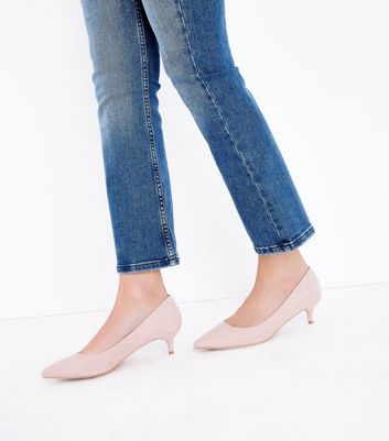 Nude Suedette Kitten Heel Court Shoes New Look