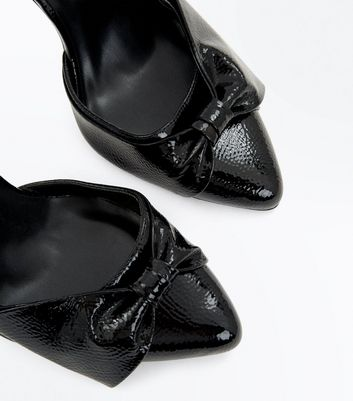 Black Patent Bow Front Cone Heel Courts New Look