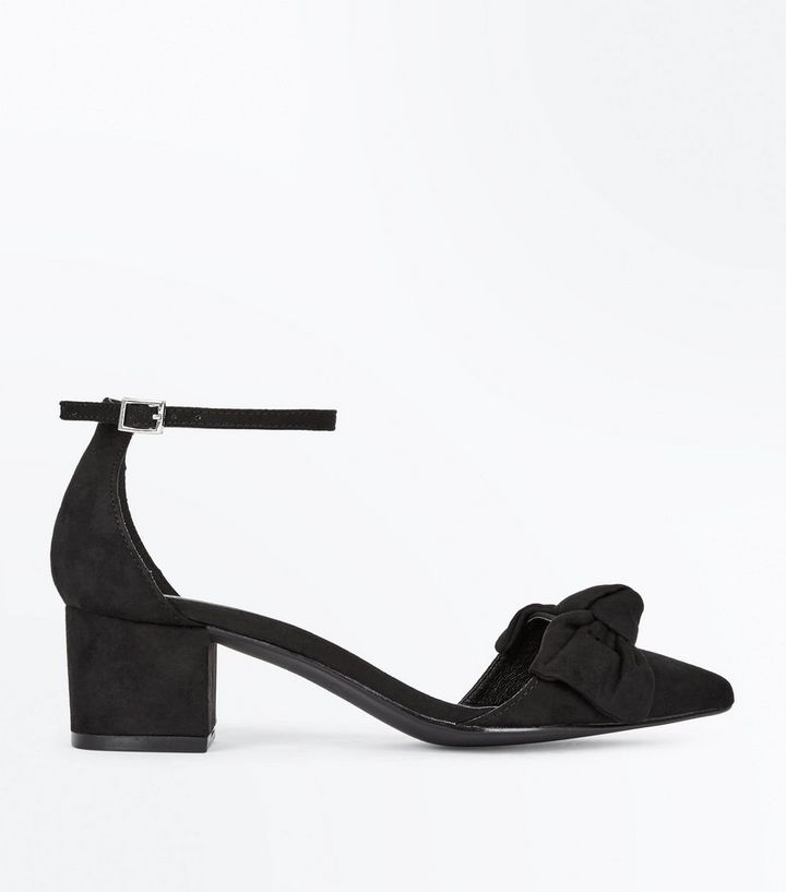346f2910ca1 Black Suedette Bow Top Pointed Block Heels Add to Saved Items Remove from  Saved Items