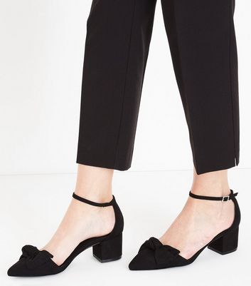 Black Suedette Bow Top Pointed Block Heels New Look