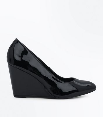 Black Patent Wedge Heels New Look