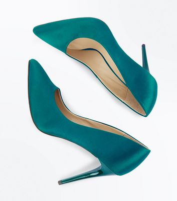 Green Satin Pointed Court Shoes New Look