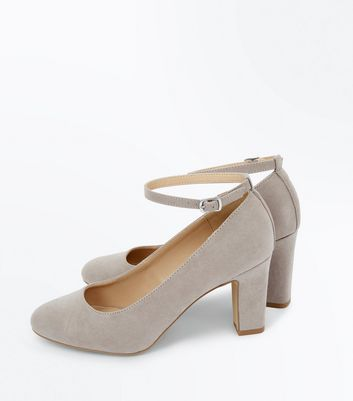 Grey Suedette Ankle Strap Court Shoes New Look