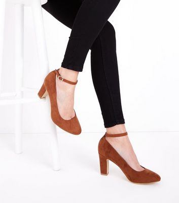 Tan Suedette Ankle Strap Court Shoes New Look