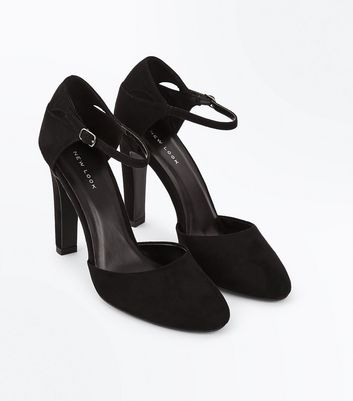 Black Suedette Cut Out Court Shoes New Look