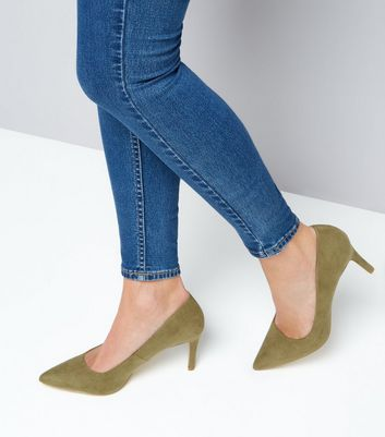 Khaki Suedette Mid Heel Pointed Court Shoes New Look