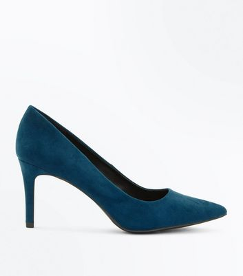Teal Suedette Mid Heel Pointed Court Shoes New Look