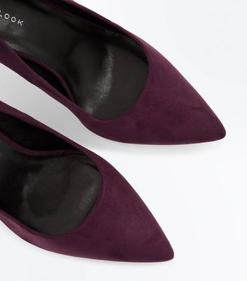 Purple Suedette Mid Heel Pointed Court Shoes New Look