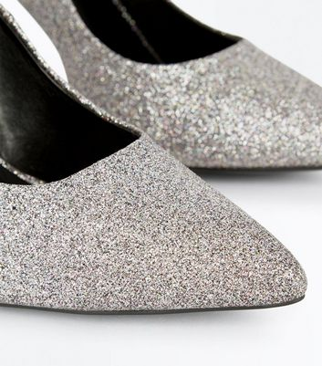 Silver Glitter Pointed Court Shoes New Look