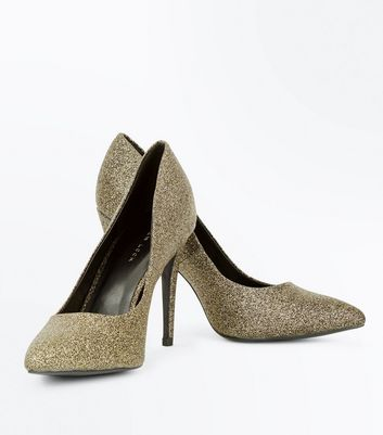 Gold Glitter Pointed Court Shoes New Look