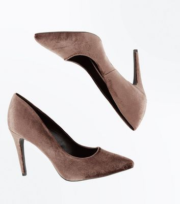 Grey Velvet Pointed Court Shoes New Look