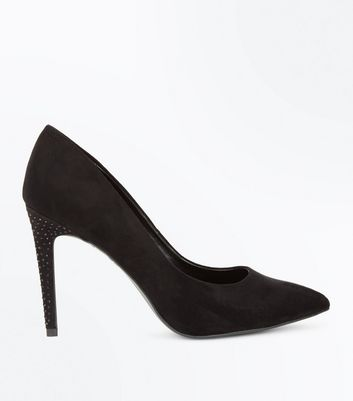 Black Suedette Embellished Heel Court Shoes New Look