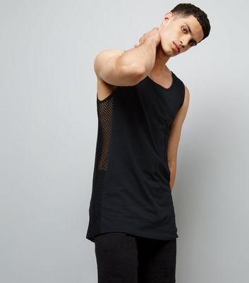 Black Mesh Side Tank Vest New Look