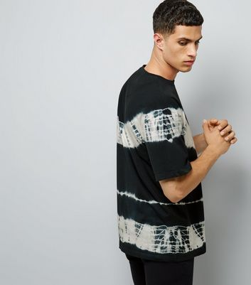 Black Monochrome Tie Dye Stripe T-Shirt New Look