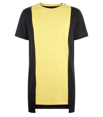 Yellow Contrast Vertical Block T-Shirt New Look
