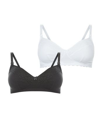 Maternity 2 Pack Black and White Soft Cup Bras