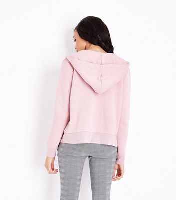 Shell Pink Zip Front Hoodie New Look