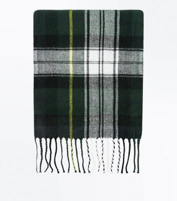 Green Check Fringe Hem Scarf New Look