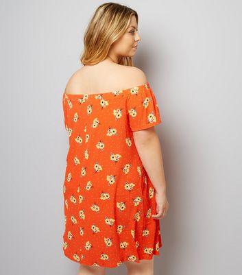 Curves Orange Floral and Spot Print Bardot Neck Dress New Look