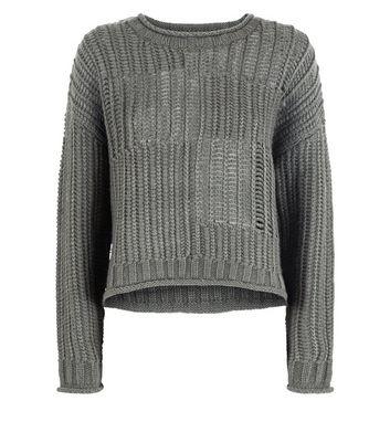 Khaki Grid Knit Jumper New Look