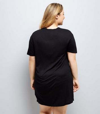 Curves Black New York Lace Up Jersey Dress New Look