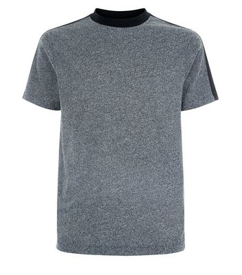 Grey Contrast Stripe Shoulder T-Shirt New Look