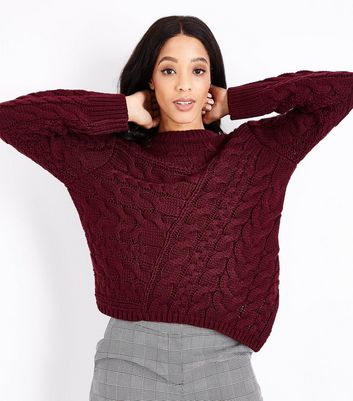 Burgundy Cable Knit Asymmetric Jumper New Look