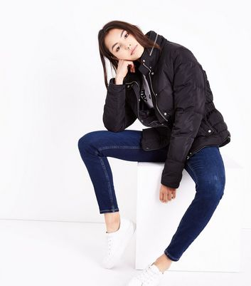Tall Black Fitted Puffer Jacket New Look