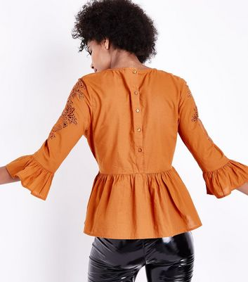 Tall Rust Crochet Shoulder Peplum Top New Look