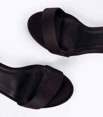 Wide Fit Black Satin Ankle Strap Block Heels New Look