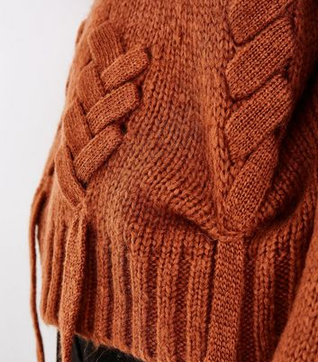 Light Brown Threaded Lace Up Jumper New Look