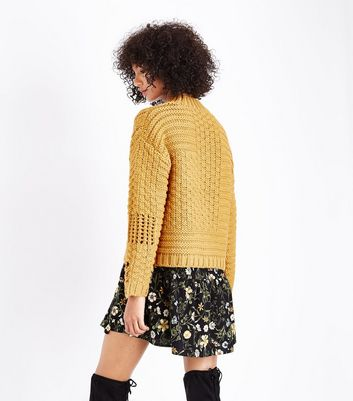 Mustard Ladder Cable Knit Jumper New Look