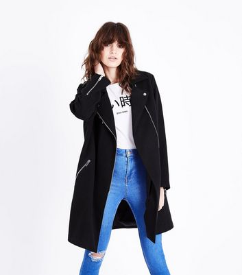 Black Wool Longline Biker Jacket New Look