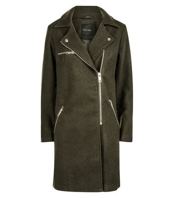 Olive Green Wool Longline Biker Jacket New Look