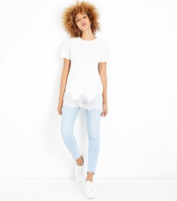 White Lace Hem Oversized T-Shirt New Look