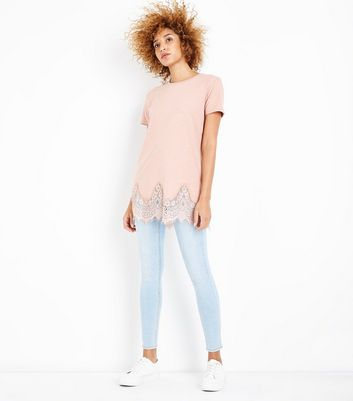 Pink Lace Hem Oversized T-Shirt New Look