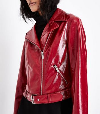 Red Patent Leather-Look Biker Jacket New Look