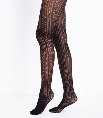 Black Pointelle Tights New Look