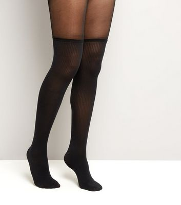 Black Over The Knee Sock Tights New Look