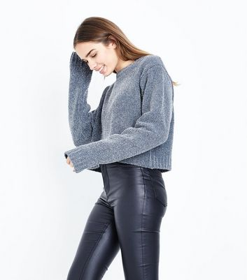 Grey Glitter Chenille Cropped Jumper New Look