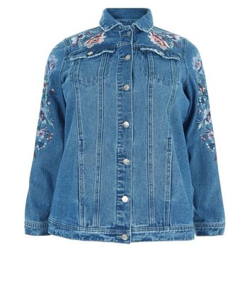 Curves Blue Floral Embroidered Denim Jacket New Look