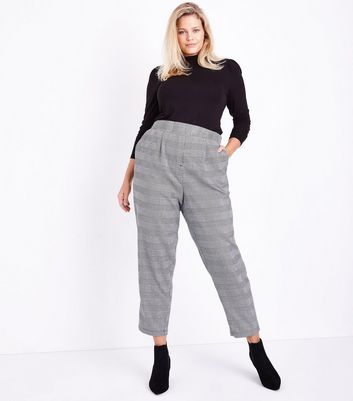 Curves Black Check Tapered Trousers New Look