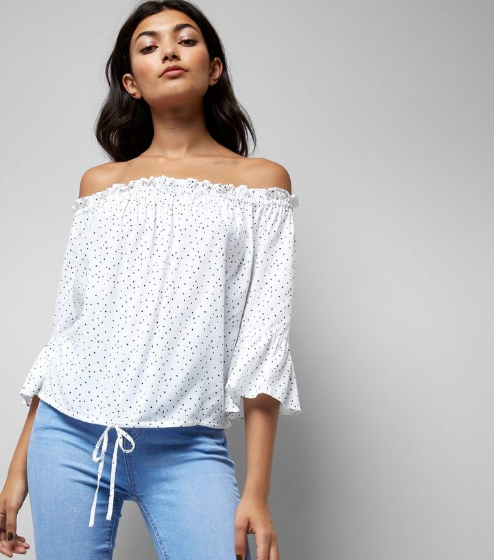 dd5ba2b7860 White Spot Print Bell Sleeve Bardot Neck Top   New Look