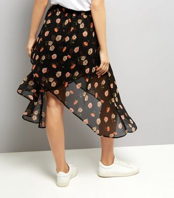 Black Spot and Floral Print Wrap Midi Skirt New Look