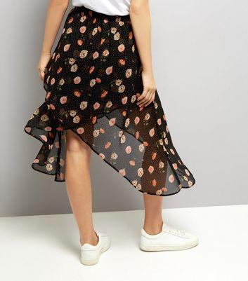 Black Spot and Floral Print Wrap Midi Skirt New Look