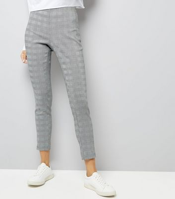 Black Check Stretch Skinny Trousers New Look