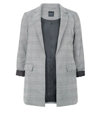 Curves Grey Check Blazer New Look