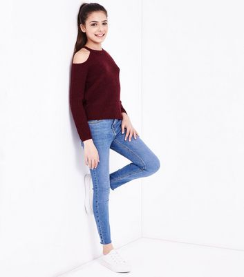 Teens Burgundy Fluffy Ribbed Jumper New Look