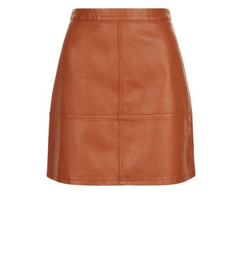 Tan Leather-Look Mini Skirt New Look